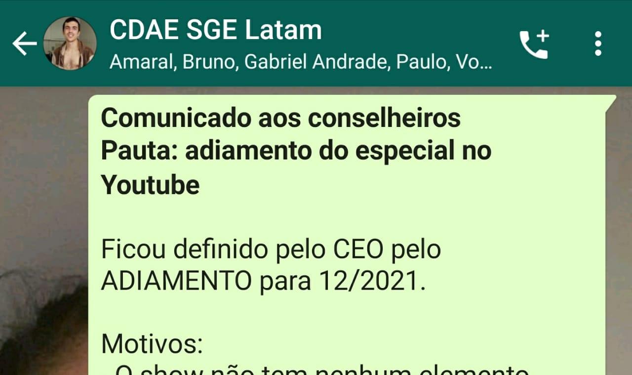 Comunicado enviado pelo CEO da SGE Latam aos conselheiros.